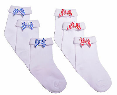 3 Pairs Girls Bow Ankle Socks School Socks Red Bow Blue Bow Socks White • 2.49£