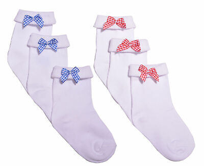 3 Pairs Girls Bow Ankle Socks School Socks Red Bow Blue Bow Socks White • 1.99£