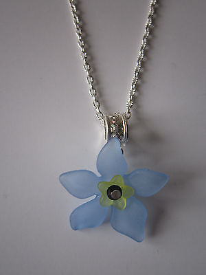 Ladies 17 Inch Forget-Me-Not Necklace, Silver Plated - Blue Lucite Flowers • 3.99£