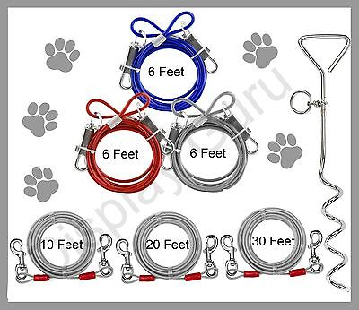Dog Pet Puppy Metal Steel Spiral Stake Pole Tie Out Collar Cable Lead Leash  Wir • 3.49£