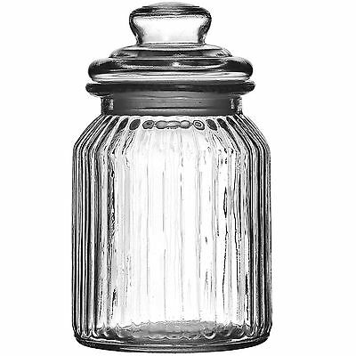 Set Of 2 990ml Ribbed Glass Storage Jars With Lids Small Kitchen Sweet Container • 9.49£