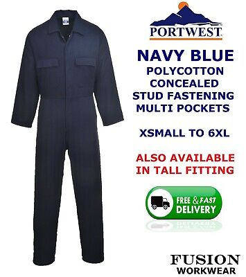 £19.99 • Buy Portwest Quality Coverall,navy Blue,overall,boiler Suit,x Small To 6xl,stud,work