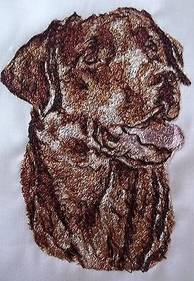 Embroidered Quilt Block Panel  Chocolate Labrador Dog  Cream Linen Fabric • 7£