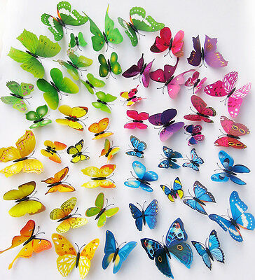 AU4.39 • Buy 12Pcs 3D Butterflies Wall Decals Removable Stickers With Magnetic Butterfly