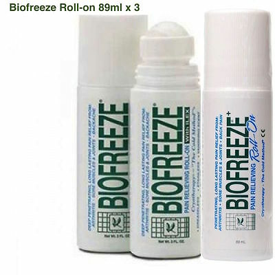 BIOFREEZE Roll-On 3oz/89ml X3 (TRIPLE PACK)+8 Travel Sach Free Shipp,PAIN RELIEF • 19.99£