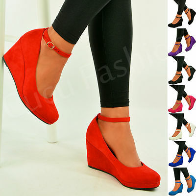£14.98 • Buy Ladies Womens Wedge Pumps Ankle Strap High Heels Platform Party Shoes Size Uk