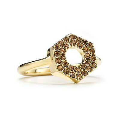 £10.88 • Buy Marc By Marc Jacobs Yellow Crystal Pave Bolt Ring Gold Tone