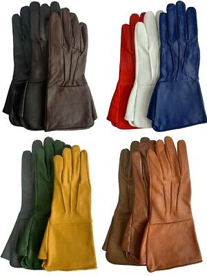 $25.49 • Buy Men's Leather Medieval Cosplay Costume Gauntlets Gloves Biker Driving Long Cuff