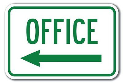 Office With Left Arrow Aluminum 8 X 12 Metal Novelty Sign  • 9.99$