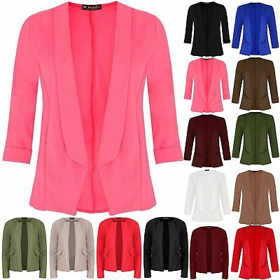 £8.99 • Buy Womens Ladies Short Turn Up Sleeve Open Front Collared Casual Coat Blazer Jacket
