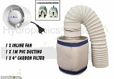 4  100m3/hr In Line Fan Carbon Filter Duct Kit Hydroponic Grow Tent Ventilation • 32.99£