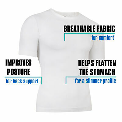 Mens Compression Base Layer Tight Top Sports T-Shirts Slimming Size M-XL • 4.99£