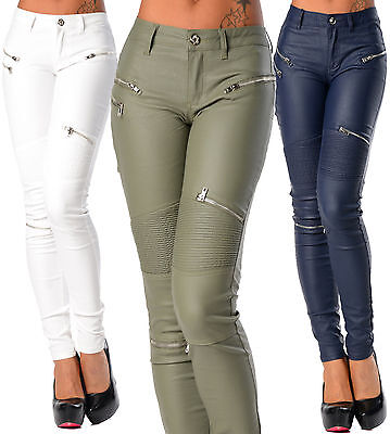 £17.99 • Buy Sexy Women's Skinny Jeans Trousers Hipsters  Wet Biker Look With Zippers K 275
