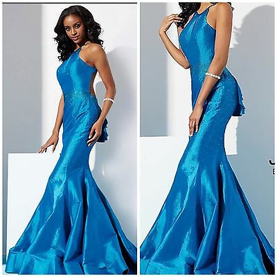 £164.64 • Buy Jovani Jvn33064  Peacock Blue  Marmaid Alter Gown With  Open Back $499 Pagent