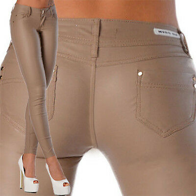 £9.99 • Buy Sexy New Women's Beige Skinny Jeans Trousers Hipsters Faux Wet  Look  L 105