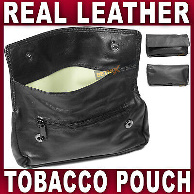 Black REAL LEATHER TOBACCO POUCH Rubber Lining Pocket For Rolling Paper Lighter • 6.99£
