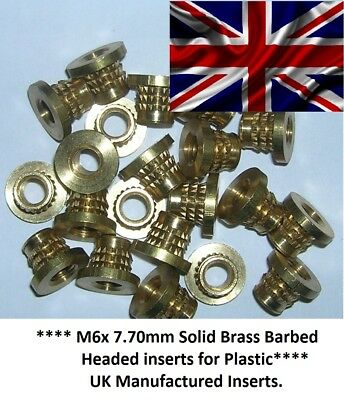 $8.21 • Buy M6 X 8.70mm Solid Brass Threaded Press-in Inserts For Plastic, Press-fit Inserts