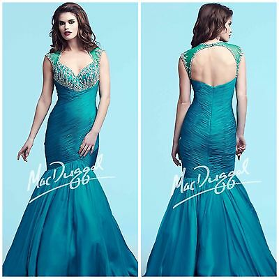 £179.01 • Buy Mac Duggal 74726y Marmaid Roched Open Back Teal $698 Sz 2,4 Pagent,prom Vgowns