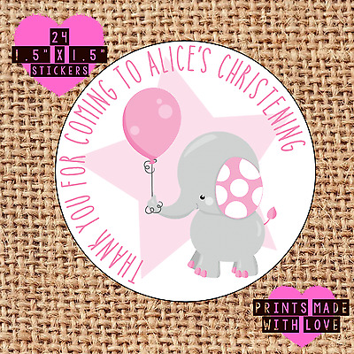£1.60 • Buy Personalised 24 Christening / Naming Day Stickers Party Labels Pink Elephant