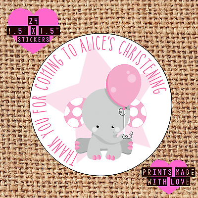 £1.60 • Buy Personalised 24 Christening / Naming Day Stickers Party Labels Pink Elephant B