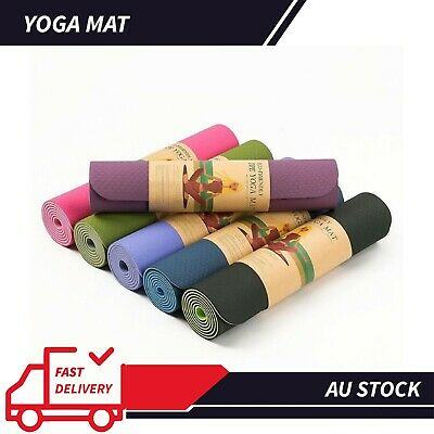 AU24.21 • Buy 6MM TPE 2 Side Color Pilate Yoga Gym Mat Non Slip ECO Friendly Fitness Training