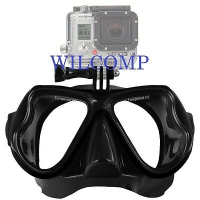 AU29.95 • Buy With GoPro Bracket Silicone Mask For Snorkelling Scuba Diving WIL-DM-GPBk
