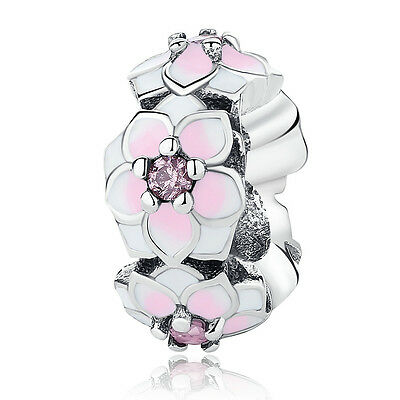 $9.95 • Buy Magnolia Bloom 925 Sterling Silver Charm Bead With Spacer Pale Cerise  Pink CZ