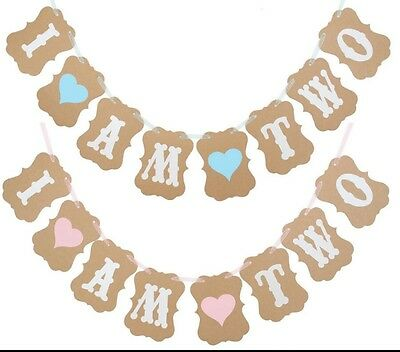 AU9.95 • Buy 2nd Birthday I Am Two Banner Bunting Girl | Boy Blue Heart Or Pink Heart