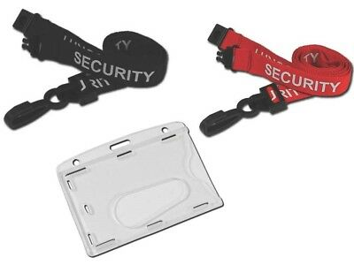 SECURITY Lanyard Neck Strap With ID Pass Enclosed Security ID Card Badge Holder • 2.15£