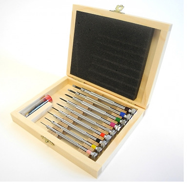 £53.94 • Buy Watchmakers Genuine 9 Screwdrivers Set In Wooden Box (Made In France) - HS98