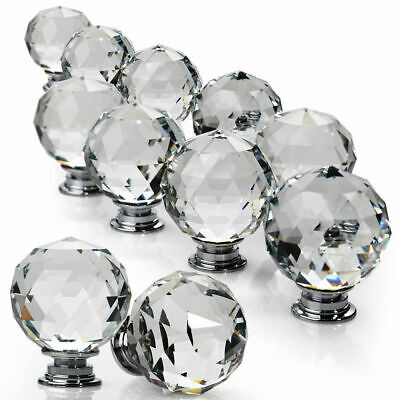 Clear Crystal Diamond Glass Door Knobs Cupboard Drawer Furniture Handle Cabinet • 8.95£