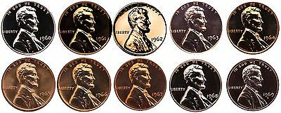 $15.99 • Buy 1960-1969 S Lincoln Memorial Cent Gem Proof & SMS Run 10 Coins US Mint Penny Lot