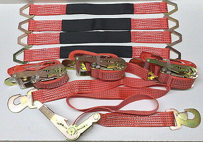 $125.83 • Buy 4 Heavy-Duty Cargo Snap Hook Ratchet Tie-Down Straps & 4 - 3ft Axle Straps Red