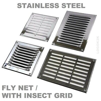 Stainless Steel Louvre Air Vent Grille Cover Metal Duct Ventilation - FLY SCREEN • 4.49£