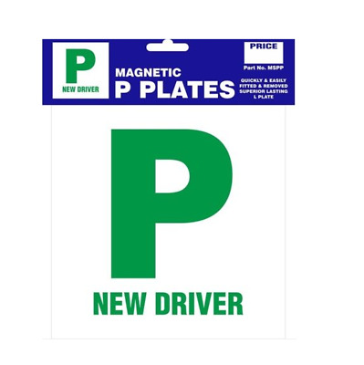 Pack Of 2 P Plate New Driver Green Magnetic Pair Just Passed For Car Van • 2.95£