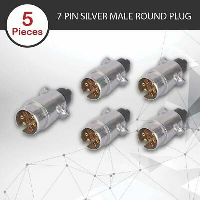 AU22.45 • Buy 5 X TRAILER PLUG 7 PIN ROUND PLUG MALE CARAVAN TRAILER PART BOAT