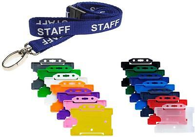 £1.99 • Buy Blue STAFF Lanyard With Colour Choice Landscape ID Card Pass Badge Holder
