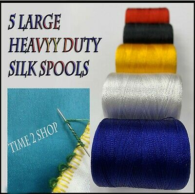 £4.98 • Buy 5 X Heavy Duty Sewing Machine Silk Embroidery Threads Brother, Janome, Guterman