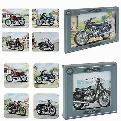 £12.99 • Buy 4 Of Each Motorbike Placemats & Coaster Set - Motorcyle Dinner & Drink Mats