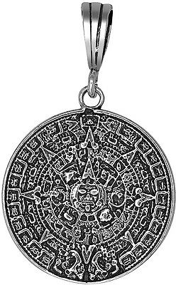 Sterling Silver Aztec Calendar Charm Pendant Necklace Antique Finish With Chain 35 99