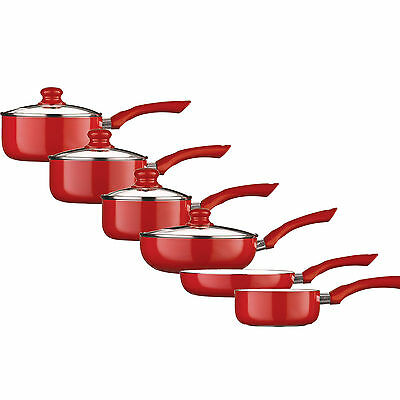 RED COLOR Ecocook Saucepan Set Non Stick White Ceramic Coating & Pan Frying • 15.99£