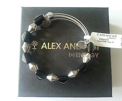 ALEX AND ANI Impulse Indie ONYX Pyramid Beaded NWT Bangle Bracelet BOX RARE  • 38.34£