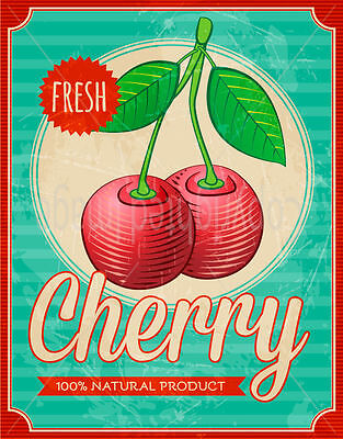 Fresh Cherry  Large Metal Tin Sign Poster Wall Plaque • 12.99£