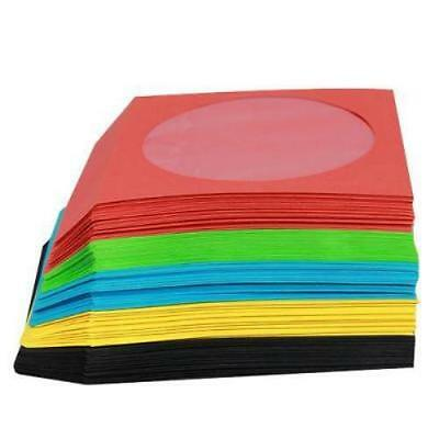 200 CD Coloured Sleeves With Window And Flap - Pack Of 200 Sleeves For 1 Disc • 12.99£
