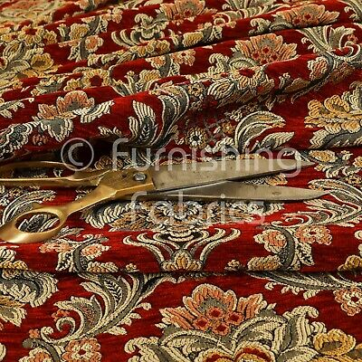£0.99 • Buy Rich Detail Damask Exotic Red Floral Pattern Upholstery Furnishing Fabric