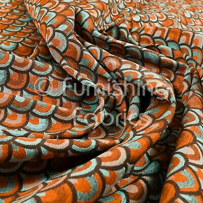 Lightweight Medallion Peacock Pattern Blue Orange Upholstery Furnishing Fabric • 26.99£