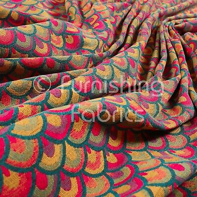Lightweight Medallion Peacock Pattern Pink Red Teal Upholstery Furnishing Fabric • 26.99£