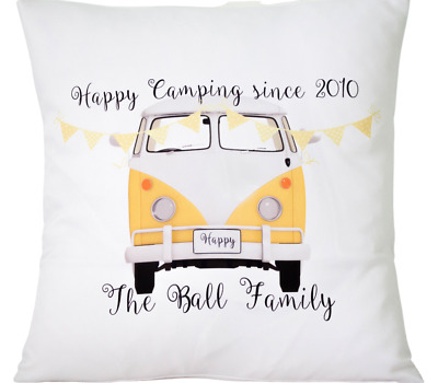 £6.50 • Buy Personalised Yellow Campervan - 16  Cushion Cover Shabby/vintage/wedding/gift