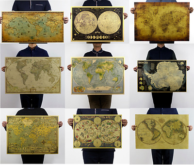 AU5.99 • Buy Retro Antique World Map Poster Vintage Style Wall Decor Picture Maps Fast Post