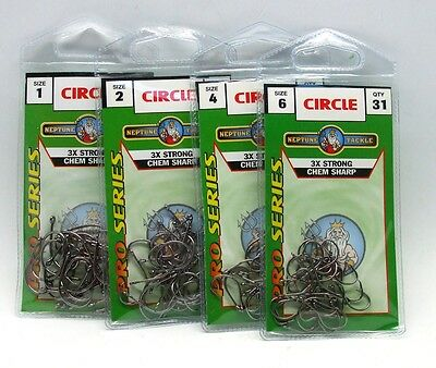 AU3.95 • Buy Neptune Pro Series Circle Fishing Hooks Value Pack In All Sizes BRAND NEW